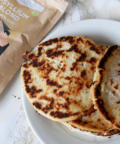 Pain plat (flatbread) Psyllium & Farine de Coco (Vegan – Sans gluten – Low Carb)